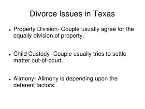 Divorce Issues in Texas